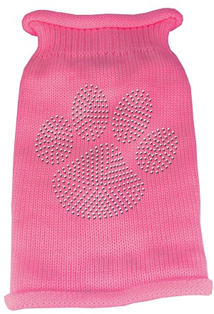 Clear Rhinestone Paw Knit Pet Sweater LG Pink