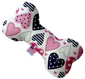 Mixed Hearts  10 inch Stuffing Free Bone Dog Toy