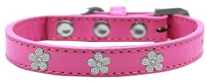 Silver Flower Widget Dog Collar Bright Pink Size 14