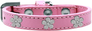 Silver Flower Widget Dog Collar Light Pink Size 20