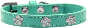 Silver Flower Widget Dog Collar Aqua Size 18