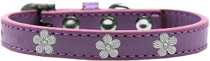 Silver Flower Widget Dog Collar Lavender Size 18