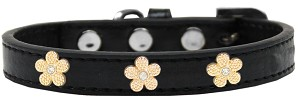 Gold Flower Widget Dog Collar Black Size 12