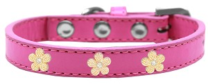 Gold Flower Widget Dog Collar Bright Pink Size 16