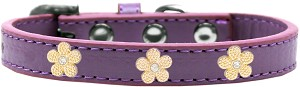Gold Flower Widget Dog Collar Lavender Size 14