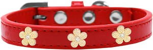 Gold Flower Widget Dog Collar Red Size 16