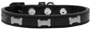 Silver Bone Widget Dog Collar Black Size 14