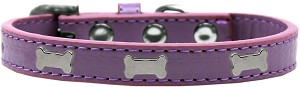 Silver Bone Widget Dog Collar Lavender Size 16
