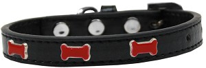 Red Bone Widget Dog Collar Black Size 12