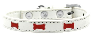 Red Bone Widget Dog Collar White Size 14