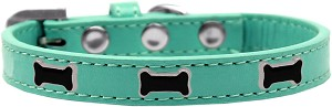 Black Bone Widget Dog Collar Aqua Size 14
