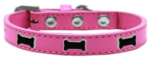 Black Bone Widget Dog Collar Bright Pink Size 18