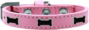 Black Bone Widget Dog Collar Light Pink Size 16