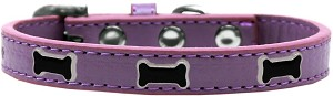 Black Bone Widget Dog Collar Lavender Size 18