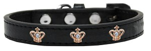 Gold Crown Widget Dog Collar Black Size 20