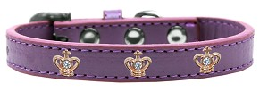 Gold Crown Widget Dog Collar Lavender Size 20
