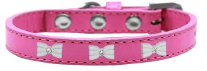 White Bow Widget Dog Collar Bright Pink Size 18