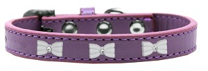 White Bow Widget Dog Collar Lavender Size 16