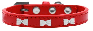 White Bow Widget Dog Collar Red Size 14