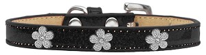 Silver Flower Widget Dog Collar Black Ice Cream Size 16