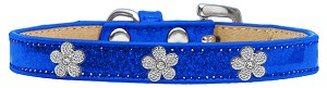 Silver Flower Widget Dog Collar Blue Ice Cream Size 12