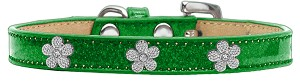Silver Flower Widget Dog Collar Emerald Green Ice Cream Size 12
