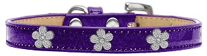 Silver Flower Widget Dog Collar Purple Ice Cream Size 16
