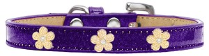 Gold Flower Widget Dog Collar Purple Ice Cream Size 18