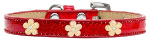 Gold Flower Widget Dog Collar Red Ice Cream Size 16