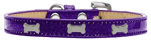 Silver Bone Widget Dog Collar Purple Ice Cream Size 18