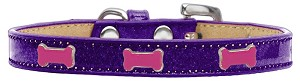 Pink Bone Widget Dog Collar Purple Ice Cream Size 16