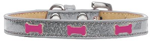 Pink Bone Widget Dog Collar Silver Ice Cream Size 16
