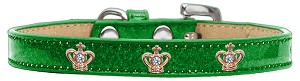 Gold Crown Widget Dog Collar Emerald Green Ice Cream Size 16
