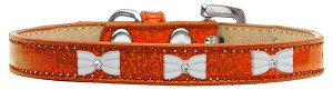 White Bow Widget Dog Collar Orange Ice Cream Size 10