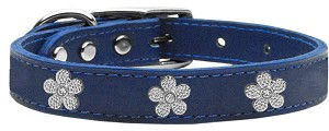 Silver Flower Widget Genuine Leather Dog Collar Blue 18