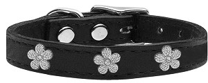 Silver Flower Widget Genuine Leather Dog Collar Black 22