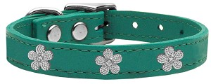 Silver Flower Widget Genuine Leather Dog Collar Jade 18