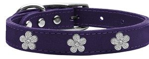 Silver Flower Widget Genuine Leather Dog Collar Purple 18
