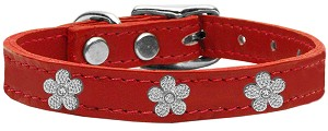 Silver Flower Widget Genuine Leather Dog Collar Red 18