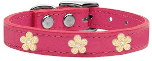 Gold Flower Widget Genuine Leather Dog Collar Pink 16