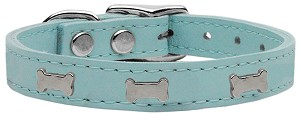Silver Bone Widget Genuine Leather Dog Collar Baby Blue 10