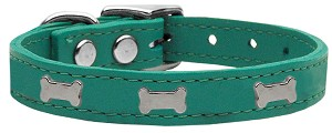 Silver Bone Widget Genuine Leather Dog Collar Jade 20