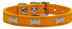 Silver Bone Widget Genuine Leather Dog Collar Mandarin 20