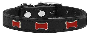 Red Bone Widget Genuine Leather Dog Collar Black 26
