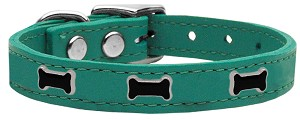 Black Bone Widget Genuine Leather Dog Collar Jade 12