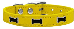 Black Bone Widget Genuine Leather Dog Collar Yellow 16