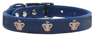 Gold Crown Widget Genuine Leather Dog Collar Blue 18