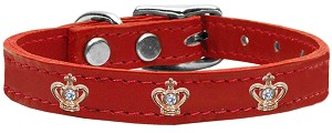 Gold Crown Widget Genuine Leather Dog Collar Red 22