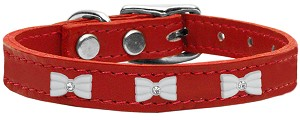 White Bow Widget Genuine Leather Dog Collar Red 20
