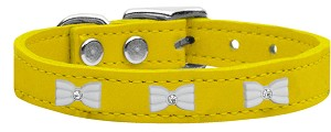 White Bow Widget Genuine Leather Dog Collar Yellow 14